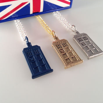 Exclusive Doctor Who TARDIS Charmed Interpreted Necklace in Your Favorite Color