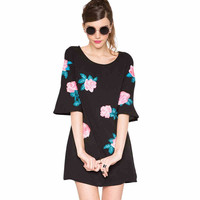 Black Floral Print Sleeve Shift Dress