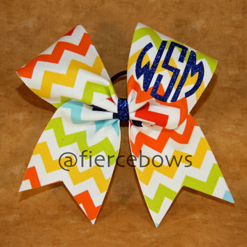Rainbow Chevron Monogram Cheer Bow