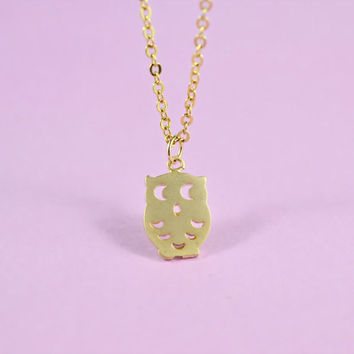 Cute Owl Necklace, Gold Plated Brass Pendant, Delicate Chain, Everyday Wear, Perfect Gift,