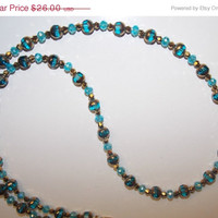 33%OFF Aqua Gold Necklace and Earrings