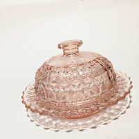 Pink Depression Glass Butter Dish with Cover, Buttons and Bows, Holiday Pattern, Covered Butter Dome