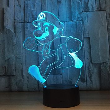 Super Mario party nes switch Novelty Lighting  Bro Table Desk Lamp Touch Sensor 3D LED Bulb Night Light Atmosphere Decor Lamp for Kids Bedroom AT_80_8