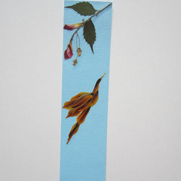 "Handmade unique bookmark ""Power"" - Decorated with dried pressed flowers and herbs - Original art collage."