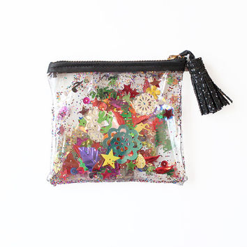 Rainbow Sequin and Glitter Plastic Coin Purse