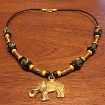 Ghanaian Elephant Pendant, Krobo, Brass and Greek Ceramic Beads Necklace 18.5""