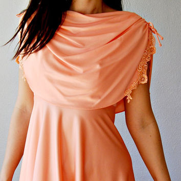 Draped Cape Dress /  peach 1970s