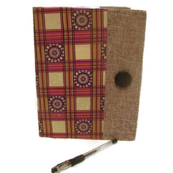 Purple and Cream with Burlap Ribbon Trim Fabric Covered Journal