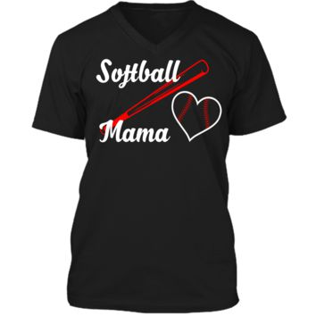 Softball Mama T-Shirt Women Mothers Day Gifts For Mom Shirt Mens Printed V-Neck T