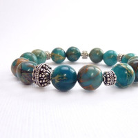Turquoise & Sterling Silver Bracelet, Bali Beads, Stacking Bracelet, Natural Stones, CIJ Sale 20% Off