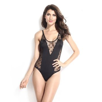 Cute Hot Deal On Sale Black Patchwork Sexy Spaghetti Strap Transparent Lingerie One-piece Exotic Lingerie [6596855939]