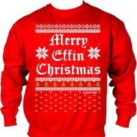 """Men's """"Merry Effin Chistmas"""" Ugly Sweater Crew Neck by Cartel Ink (Red)"""