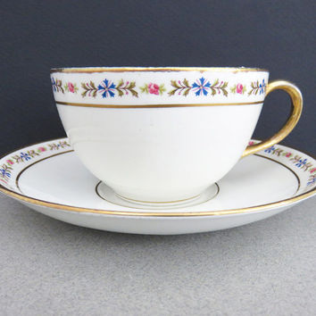 Johnson Bros white tea cup and saucer with gold and floral trim border - Made in England - Johnson Brothers gold trim tea set
