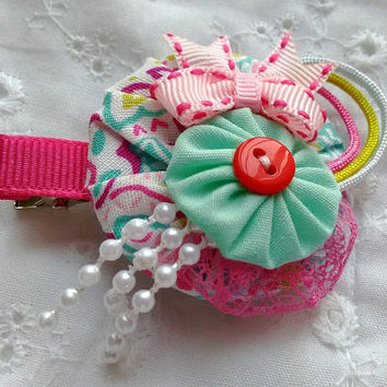 Cute Fabric Yoyo Hair Clip~ Unique Fabric Yoyo Hair Clip~ OOAK Fabric Yoyo Baby Headband~ Cute Baby Headband~ Gift for Girl
