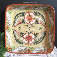 Vintage Mexican Bowl, Handmade Ceramic Pottery, Hand Painted Tonala Floral Mexican Pottery