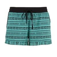 Soft Textured Shorts With Tie - Sea Green Combo