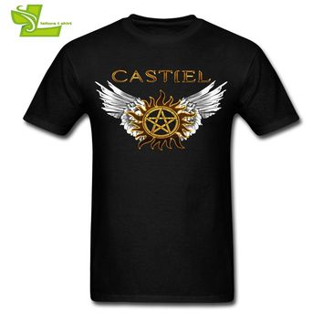 Supernatural Castiel Free Will Male T Shirt Cool Customized Loose T-Shirt Boy Summer O Neck Tshirt Dad New Coming Simple Clothes