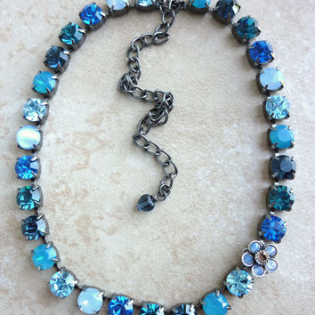 swarovski crystal choker- blue ombre- large flower accent- better than sabika- high sparkle