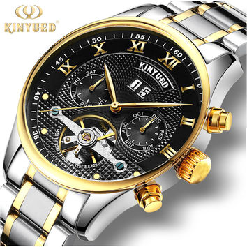 Automatic Mechanical Watch Wrist Self-winding Skeleton Watch Men Steel Strap Mens Watch Luxury Brand kinyued Watches Men Clock