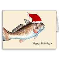 Santa Redfish Christmas Greeting Cards