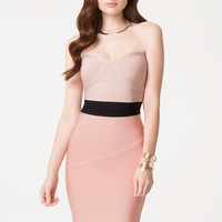 bebe Womens Bandage Colorblock Dress