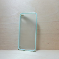 ipod touch 5 Case Silicone Bumper and Translucent Frosted Hard Plastic Back - Mint Green