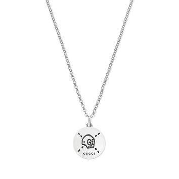 GucciGhost Silver Skull Charm Pendant Necklace