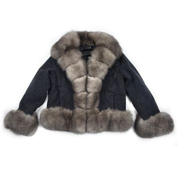 Parker coat winter natural fox furrex rabbit fur lining denim coat jacket jeans high spring female natural fur coat thick linin
