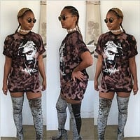 Heyouthoney Fashion Women summer high quality retro tupac print hole short Sleeve Sexy Mini tshirts dresses Vestido Curto