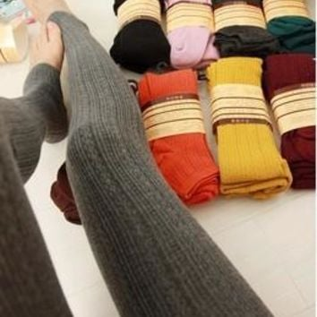 13 colors New Leggings For Women Casual Warm Winter Stirrup Legging Line Stripe Knitted Thick Slim Leggings Super Elastic