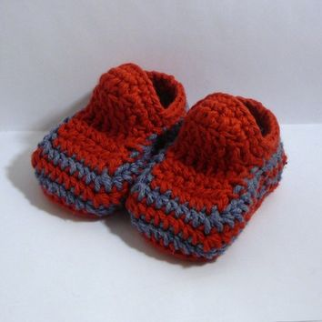 Baby Booties - Red with Blue Stripes - 0-6 Months