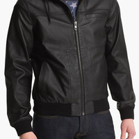 Topman 'Bramley' Hooded Leather Jacket | Nordstrom