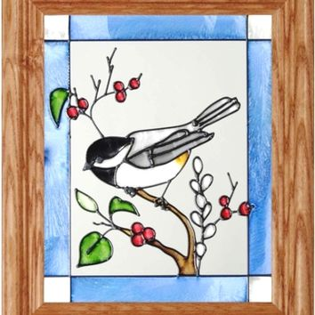 Chickadee Vertical Stained Art Glass Panel