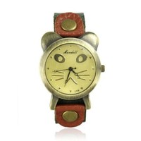 ZLYC 90's Girl Women Retro Vintage Fashion Cat Face Leather Wrist Watch