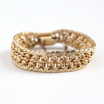 Vintage Linked Bracelet - 12k Rosy Yellow Gold Filled Woven Bracelet - 1960s Retro Woven Signed A&Z Women's Stacking Jewelry