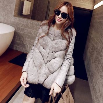 vest mink coat 2016new winter fox fur vest faux fur women jacket mink outerwear Leather sleeve waistcoat grass fur coat