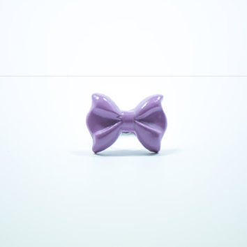 Purple Bow Ring, Polymer Clay Ring, Bow Ring