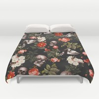 Floral and Skull Pattern Duvet Cover by Burcu Korkmazyurek