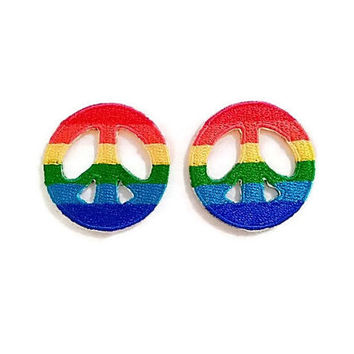 Set 2pcs. Colorful Rainbow Color Little Peace Sign New Iron On Patch Embroidered Applique Size 3.5cm.x3.5cm.