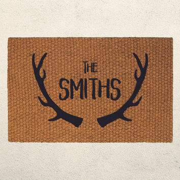 Custom Last Name Welcome Doormat with Antler Design – Hand Painted Outdoor Rug – Rustic Home Decor - Personalized Gift