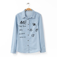 Blue Denim Letter Eye Embroidery Long Sleeve Blouse