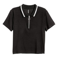 Cropped polo shirt - Black - Ladies | H&M GB
