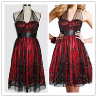 Red Satin & Black Sheer Designed Lace Halter Knee Length Dress