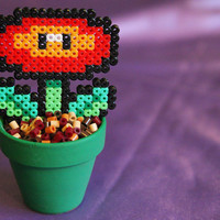 Super Mario inspired Potted Fire Flower. Detachable