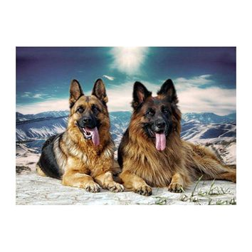 5D Diamond Painting Two German Shepherds in the Mountains Kit