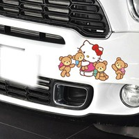 Car Sticker Hello Kitty With Four Bears Decals Car Cute Styling Accessories Car Door or Windows Vinyl Decal