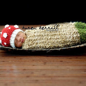 Crochet Newborn Mushroom Hat and Cocoon - PDF Pattern - Not The finished Product