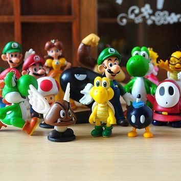 Super Mario party nes switch 18PCS/Lot  Bros PVC Mini Figure Toys Wario Luigi Donkey Kong Peach Bowser Yoshi Mini figure Boo Waluigi Toad Daisy AT_80_8