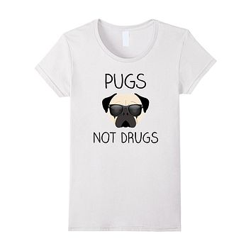 Pug Shirt- Pugs Not Drugs Funny T-Shirt