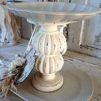 White two tiered tray handmade French Nordic stoneware style large serving tray farmhouse cottage chic display home decor anita spero design